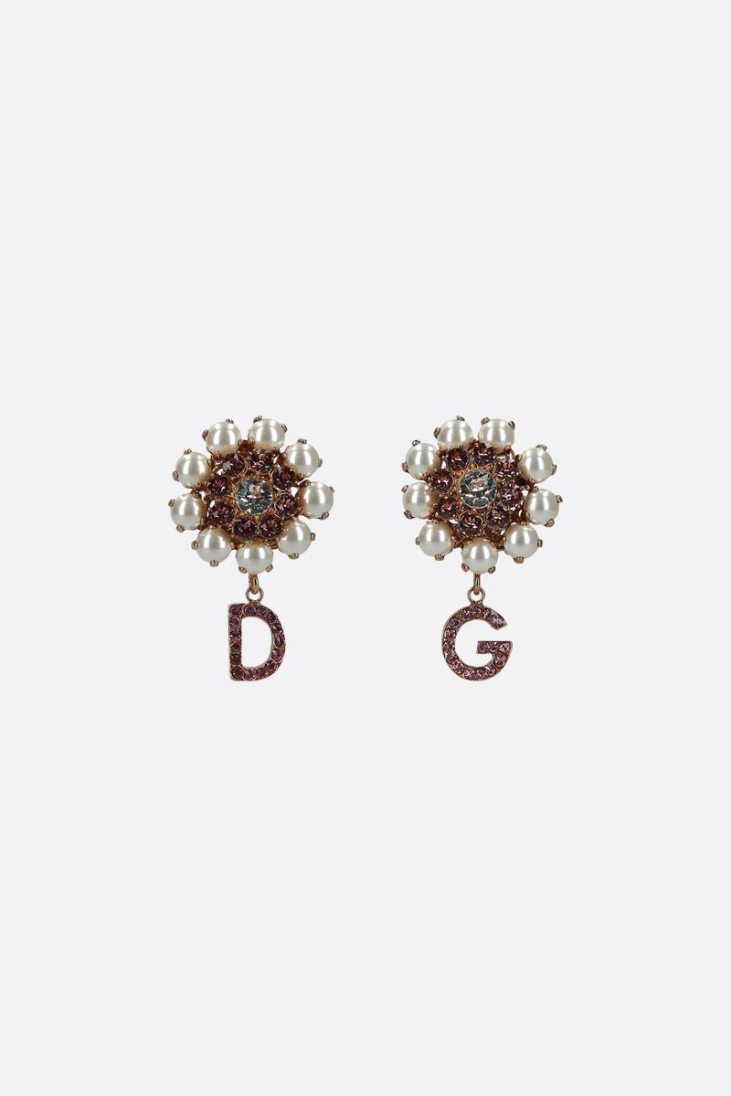 DOLCE & GABBANA: crystal-embellished brass earrings Color Gold_1
