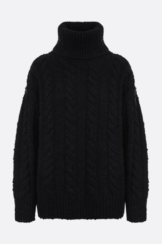 DOLCE & GABBANA: oversized wool cashmere blend turtle-neck pullover Color Black_1