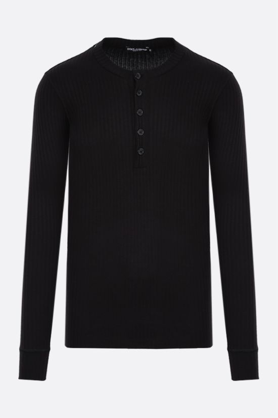 DOLCE & GABBANA: viscose blend ribbed-knit pullover Color Black_1