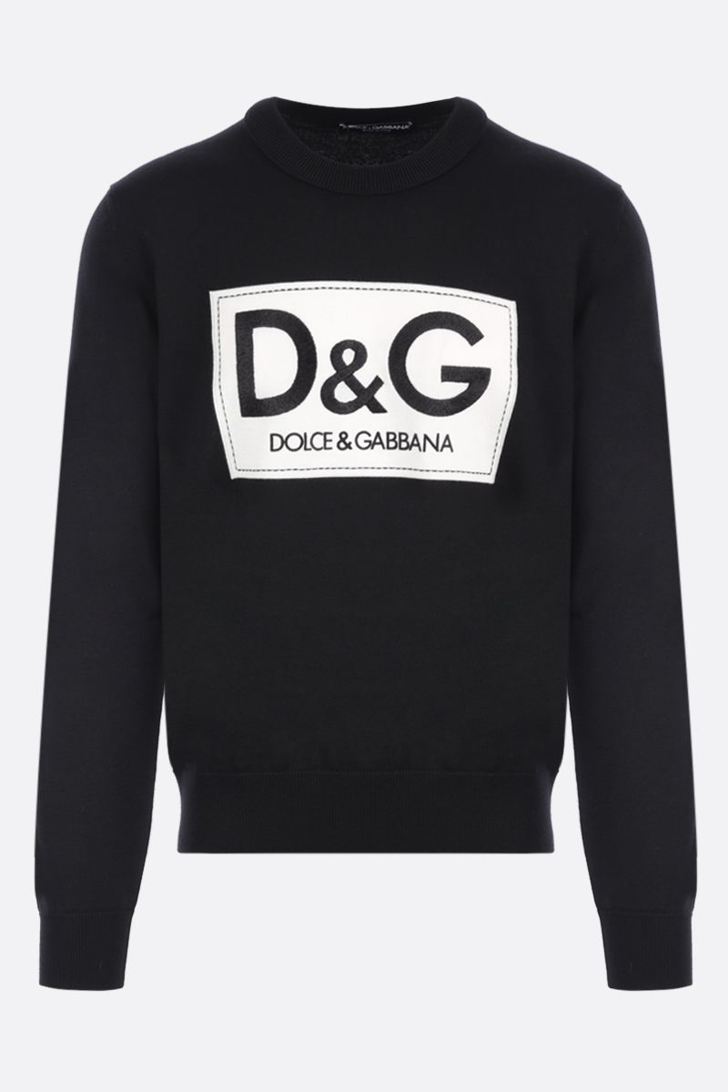 DOLCE & GABBANA: logo embroidery wool pullover Color Black_1