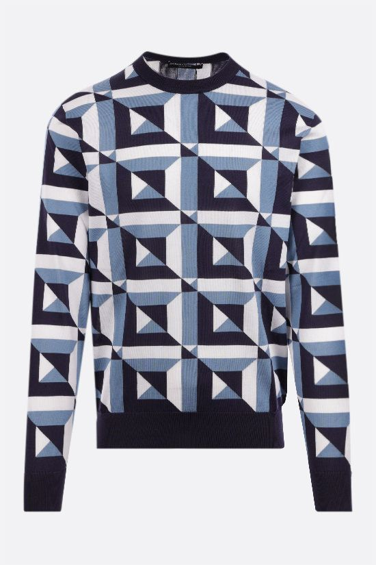 DOLCE & GABBANA: geometric-motif inlaid silk pullover Color Multicolor_1