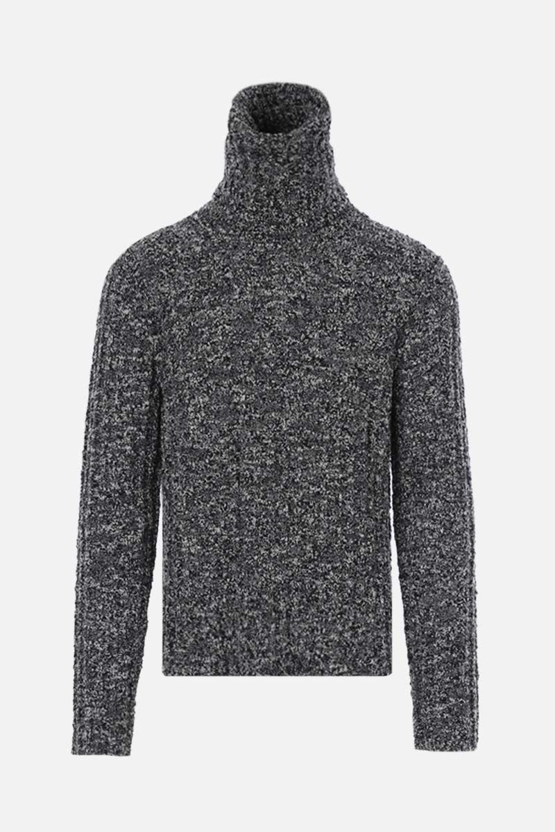 DOLCE & GABBANA: moulinè wool ribbed-knit turtleneck Color White_1