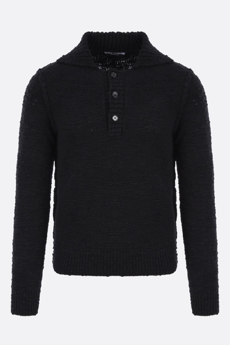 DOLCE & GABBANA: distressed-effect wool blend pullover Color Black_1