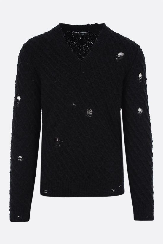 DOLCE & GABBANA: distressed-effect wool pullover Color Black_1