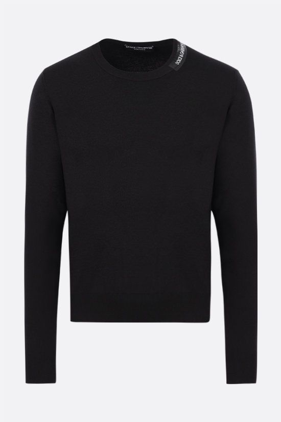 DOLCE & GABBANA: logoed bands-detailed cotton silk blend pullover Color Black_1
