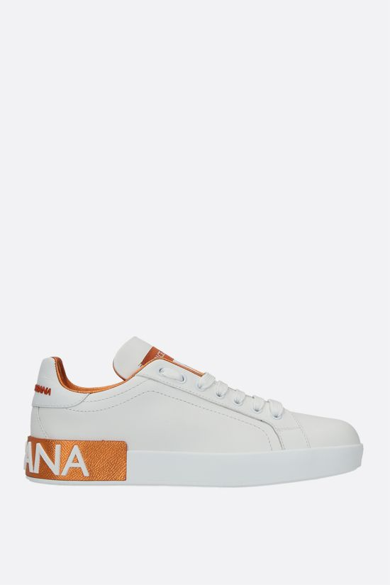 DOLCE & GABBANA: Portofino calf nappa sneakers Color Orange_1