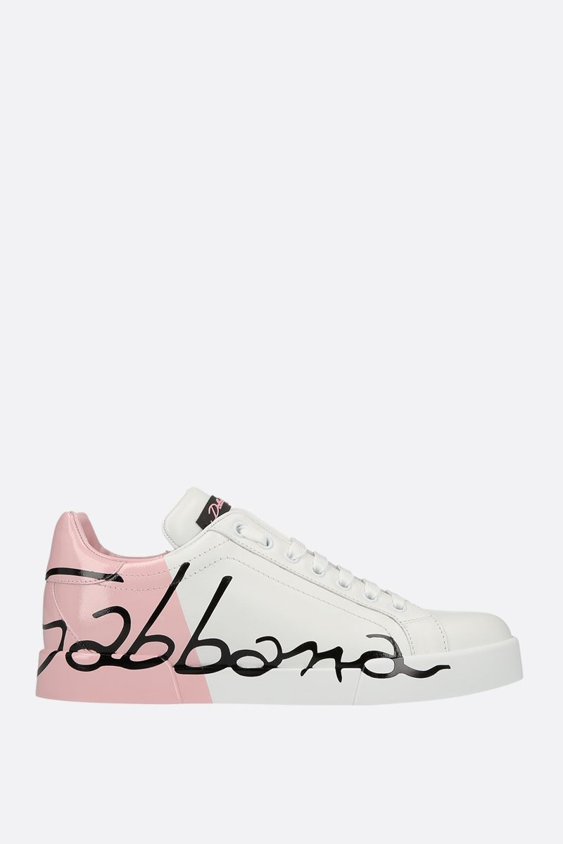DOLCE & GABBANA: Portofino sneakers in smooth and patent leather Color White_1