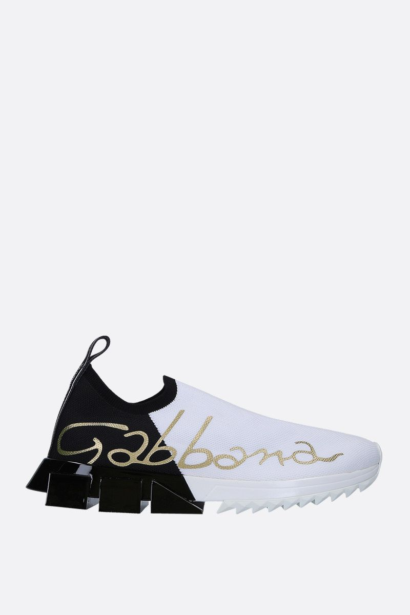 DOLCE & GABBANA: Sorrento stretch knit slip-on sneakers Color White_1