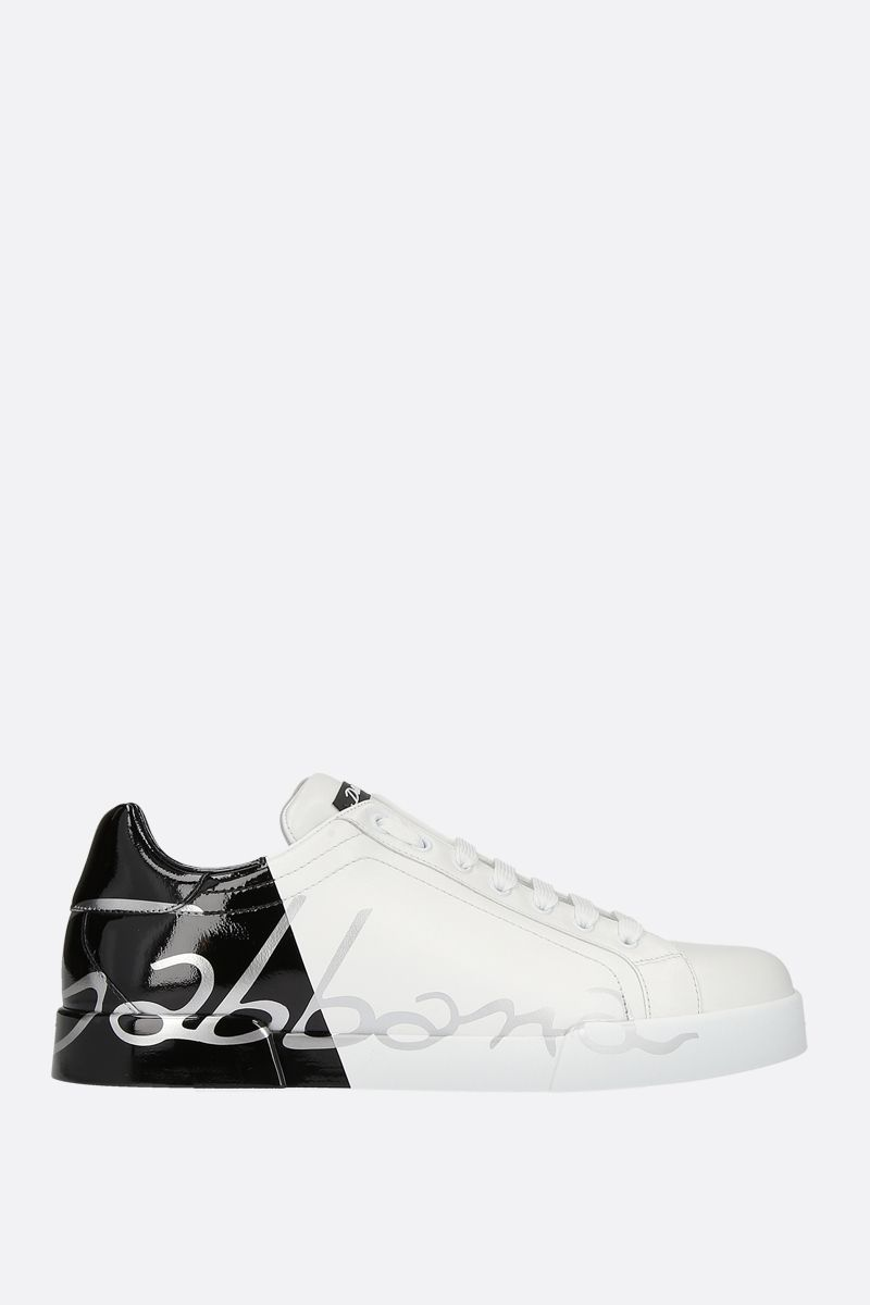 DOLCE & GABBANA: Portofino smooth and patent leather sneakers Color White_1