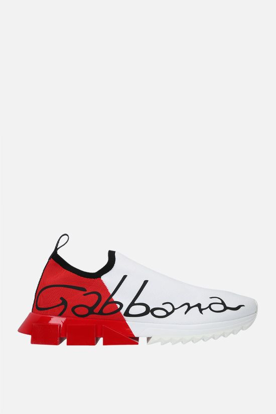 DOLCE & GABBANA: Sorrento stretch knit sneakers Color White_1