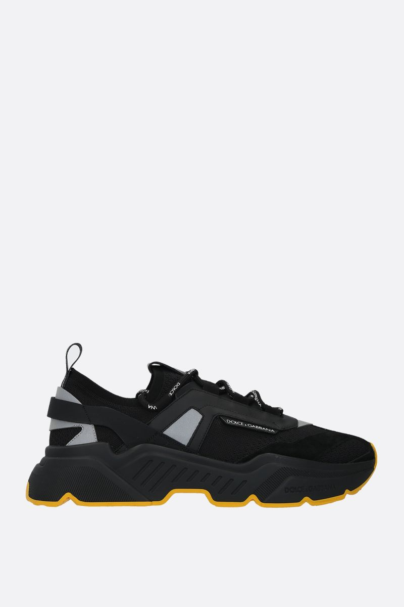 DOLCE & GABBANA: Daymaster stretch knit and leather sneakers Color Black_1