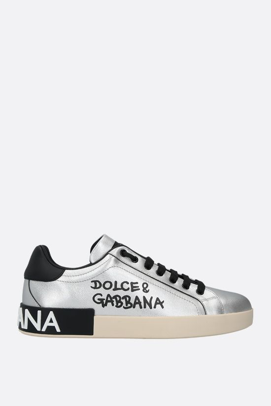 DOLCE & GABBANA: Portofino laminated leather sneakers_1