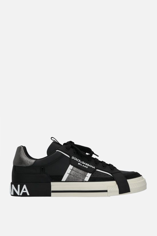 DOLCE & GABBANA: Custom 2.Zero smooth and Dauphine leather sneakers Color Black_1