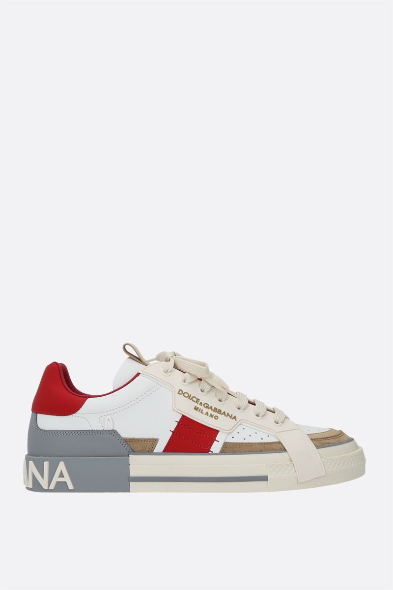 DOLCE & GABBANA: Custom 2.Zero smooth leather and suede sneakers Color Neutral_1