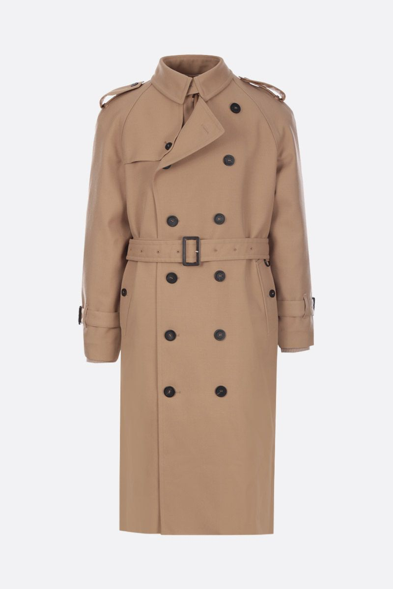 GOLDEN GOOSE DELUXE BRAND: Hitoshi double-breasted trench coat in wool gabardine Color Neutral_1