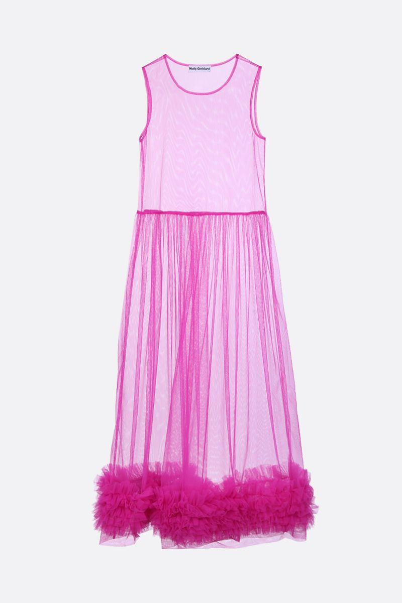 MOLLY GODDARD: Alison tulle sleeveless dress Color Purple_1