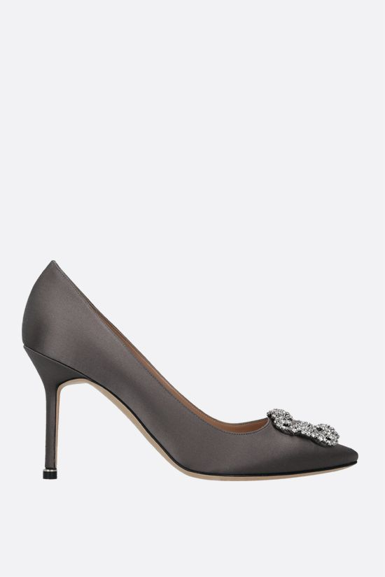 MANOLO BLAHNIK: Hangisi satin pumps Color Grey_1