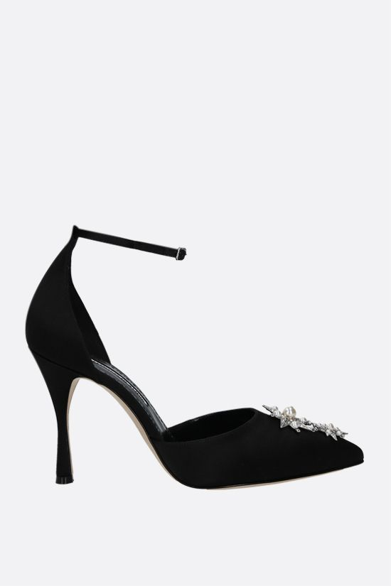 MANOLO BLAHNIK: Montezuma satin pumps Color Black_1