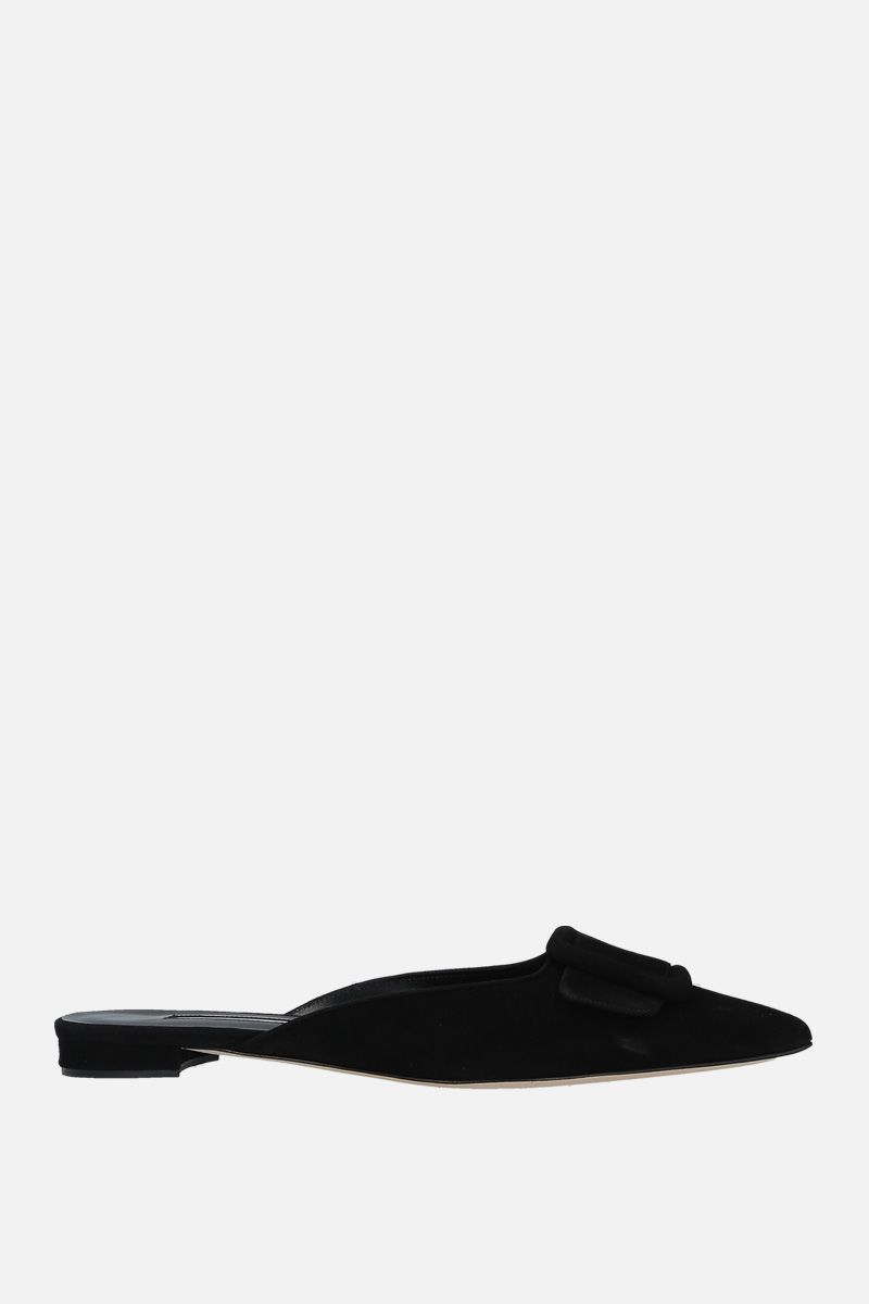 MANOLO BLAHNIK: Maysale velvet suede slippers Color Black_1