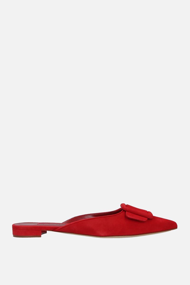 MANOLO BLAHNIK: Maysale velvet suede slippers Color Red_1