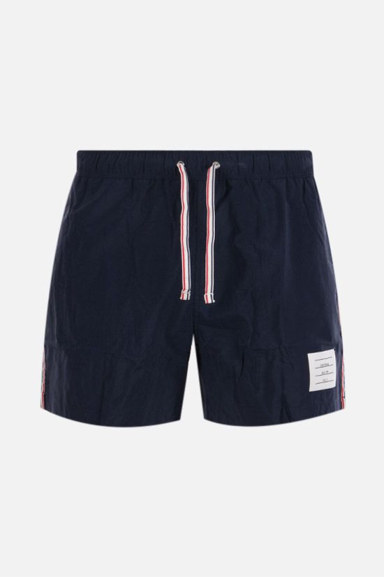 THOM BROWNE: tricolour bands-detailed nylon swim shorts Color Blue_1