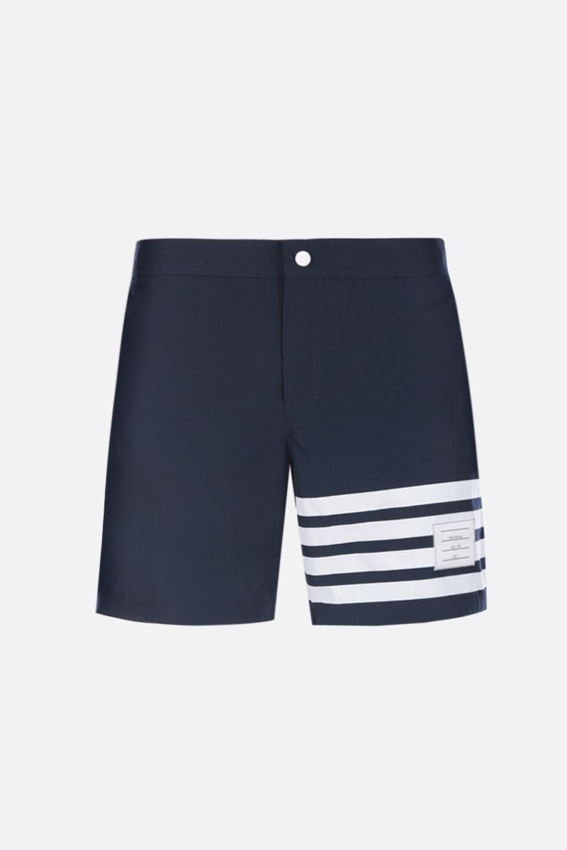 THOM BROWNE: 4-bar detailed nylon swim shorts Color Blue_1