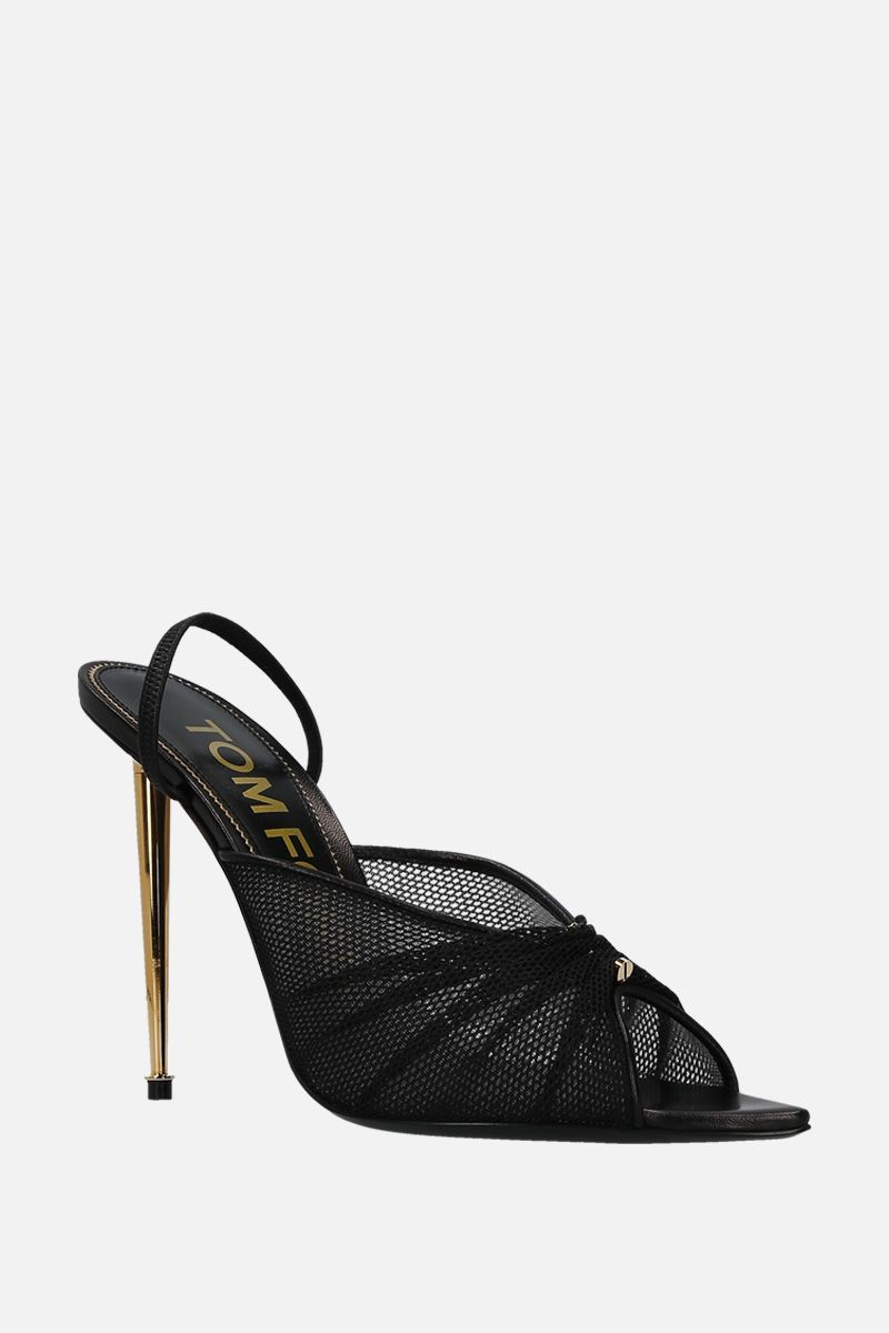 TOM FORD: mesh and smooth leather mule sandals Color Black_2