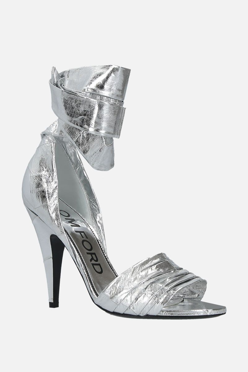 TOM FORD: laminated leather sandals Color Silver_2