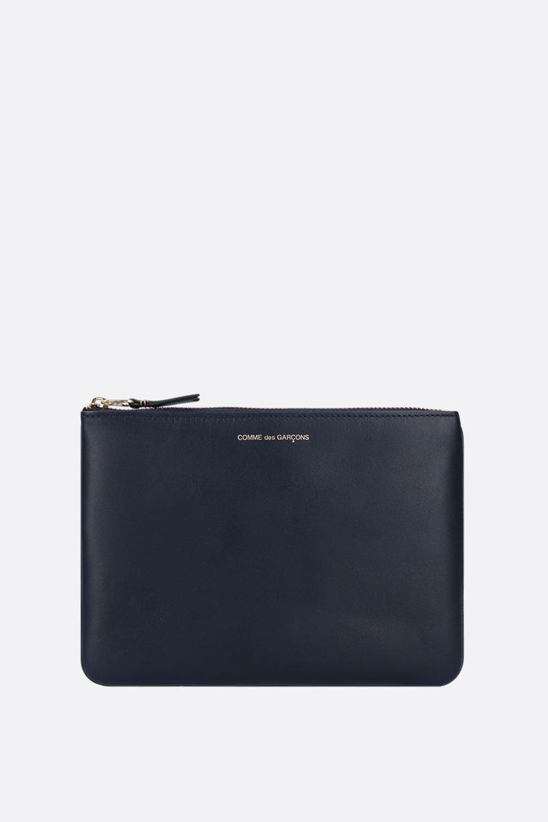 COMME des GARCONS WALLET: smooth leather large pouch Color Blue_1