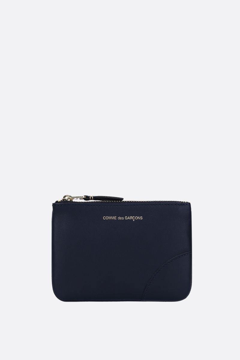 COMME des GARCONS WALLET: busta small in pelle liscia Colore Blu_1