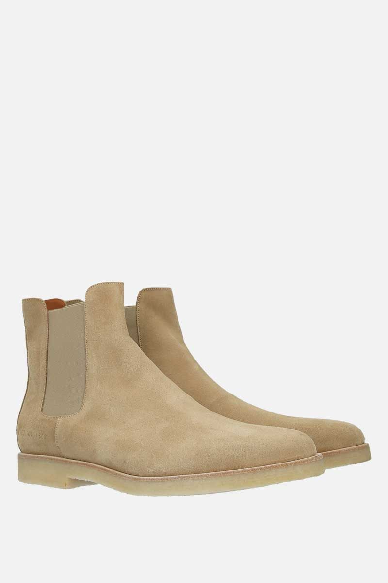 COMMON PROJECTS: velvet suede chelsea boots Color Brown_2