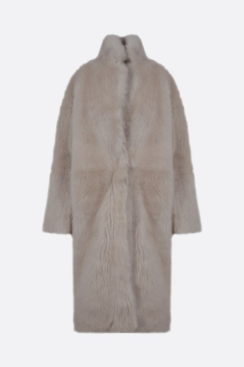 YVES SALOMON: shearling single-breasted coat Color White_1