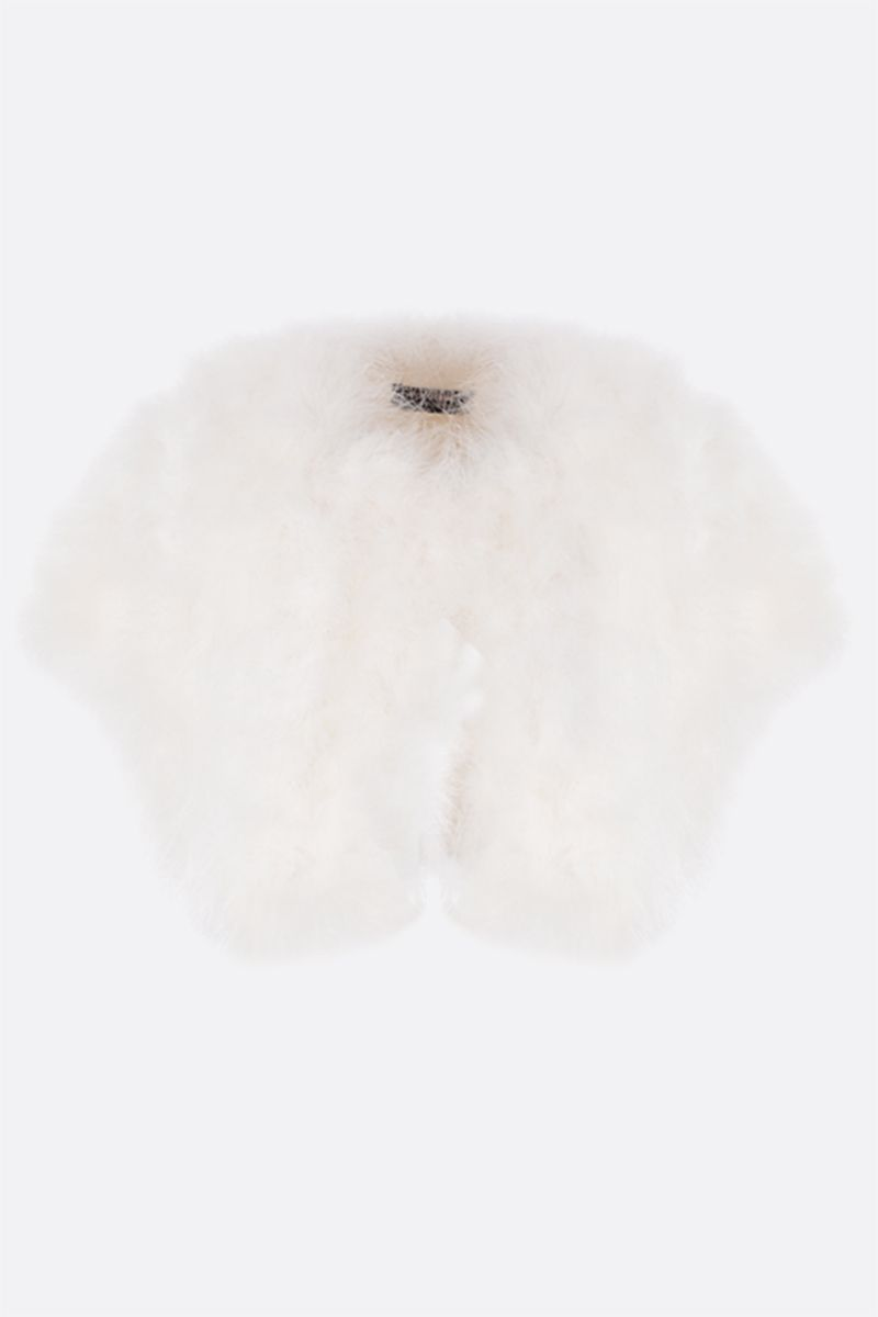 YVES SALOMON: cropped feather vest Color White_1