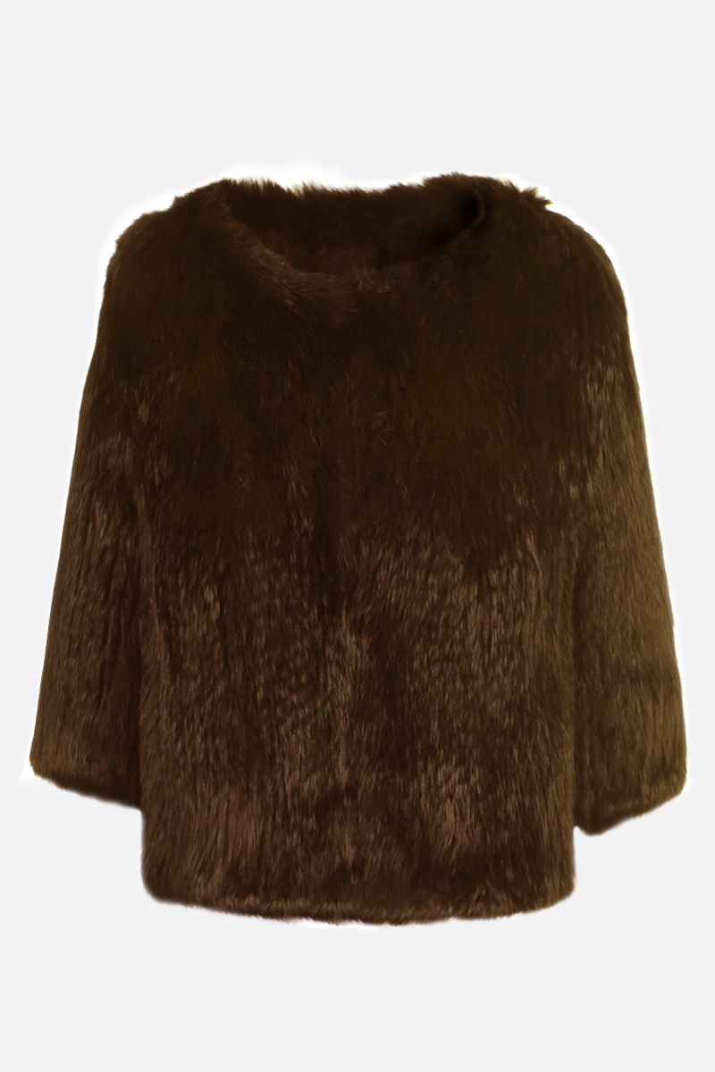 YVES SALOMON: rabbit fur short jacket Color Brown_1