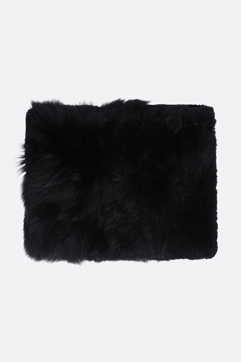 YVES SALOMON: lapin and fur snood Color Black_2