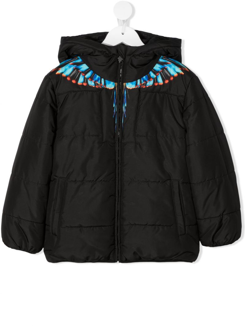 MARCELO BURLON COUNTY OF MILAN KIDS: Grizzly Wings nylon padded jacket Color Black_1