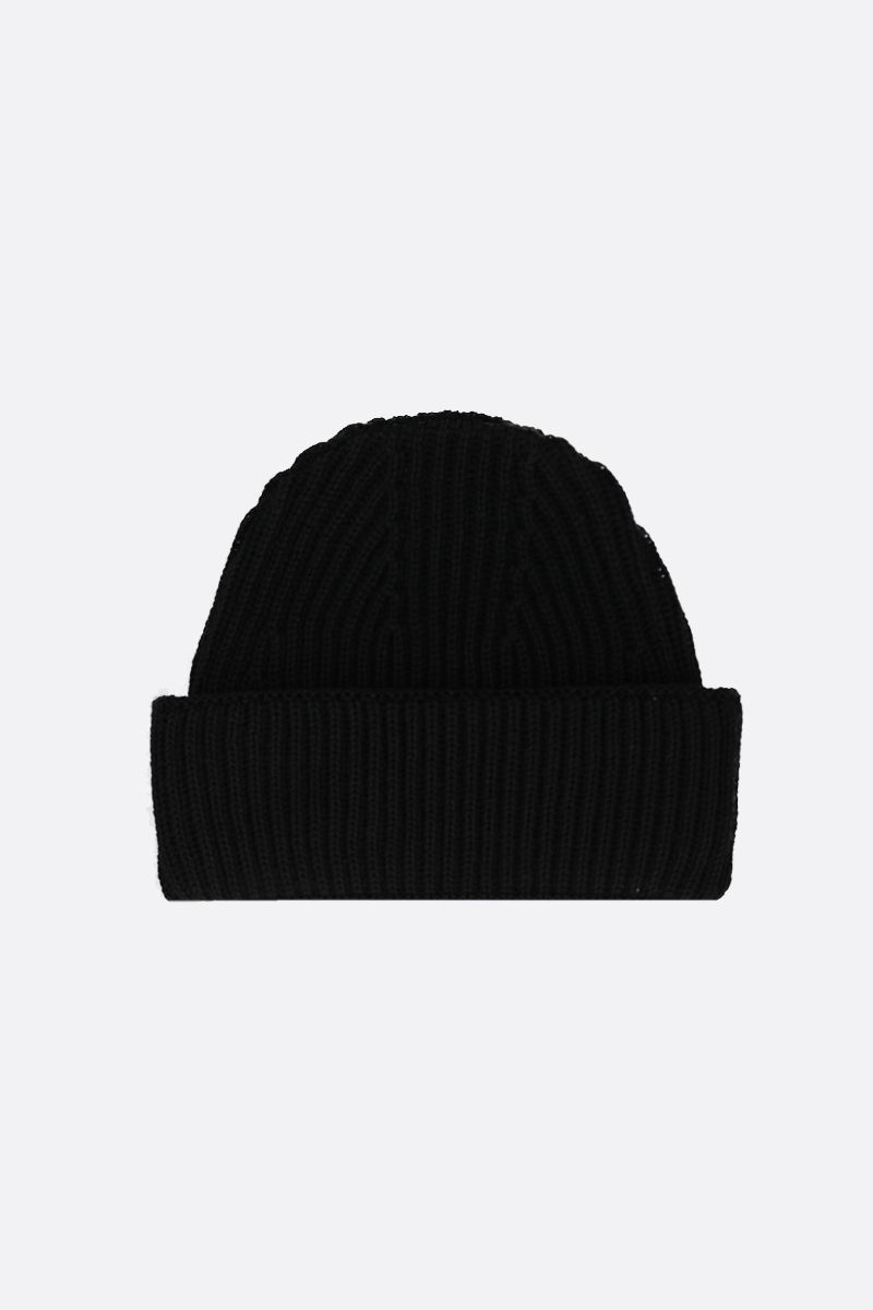 MAISON KITSUNÈ: Tricolor Fox patch wool beanie Color Black_2