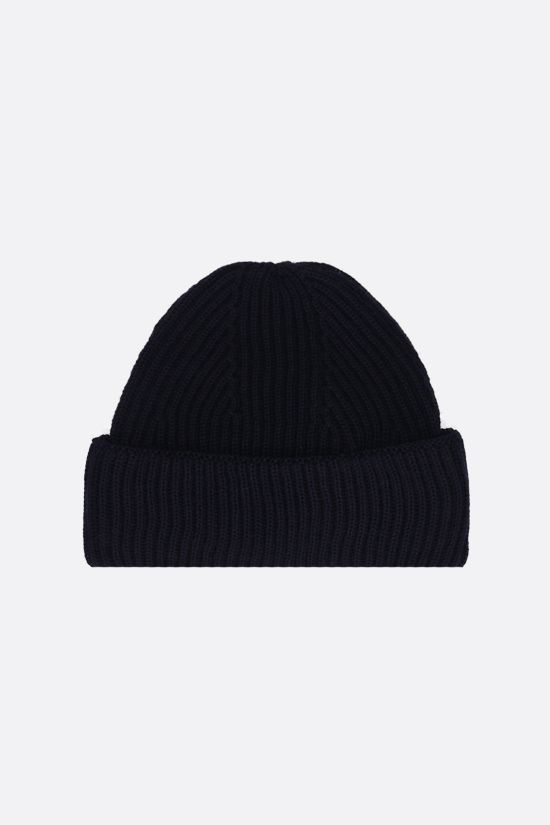 MAISON KITSUNÈ: Tricolor Fox patch wool beanie Color Blue_2