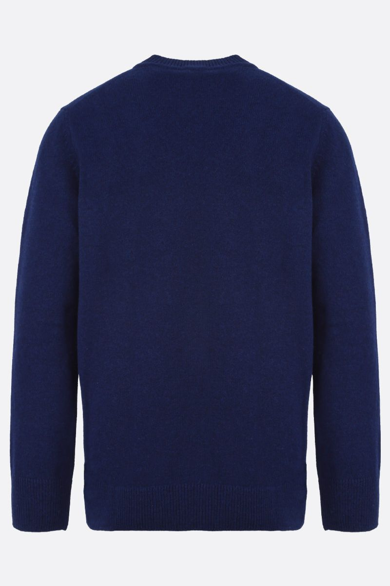 MAISON KITSUNÈ: Fox patch wool pullover Color Blue_2