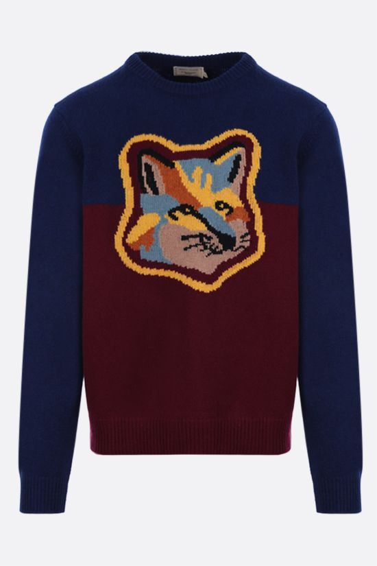 MAISON KITSUNÈ: Fox Head intarsia wool pullover Color Blue_1