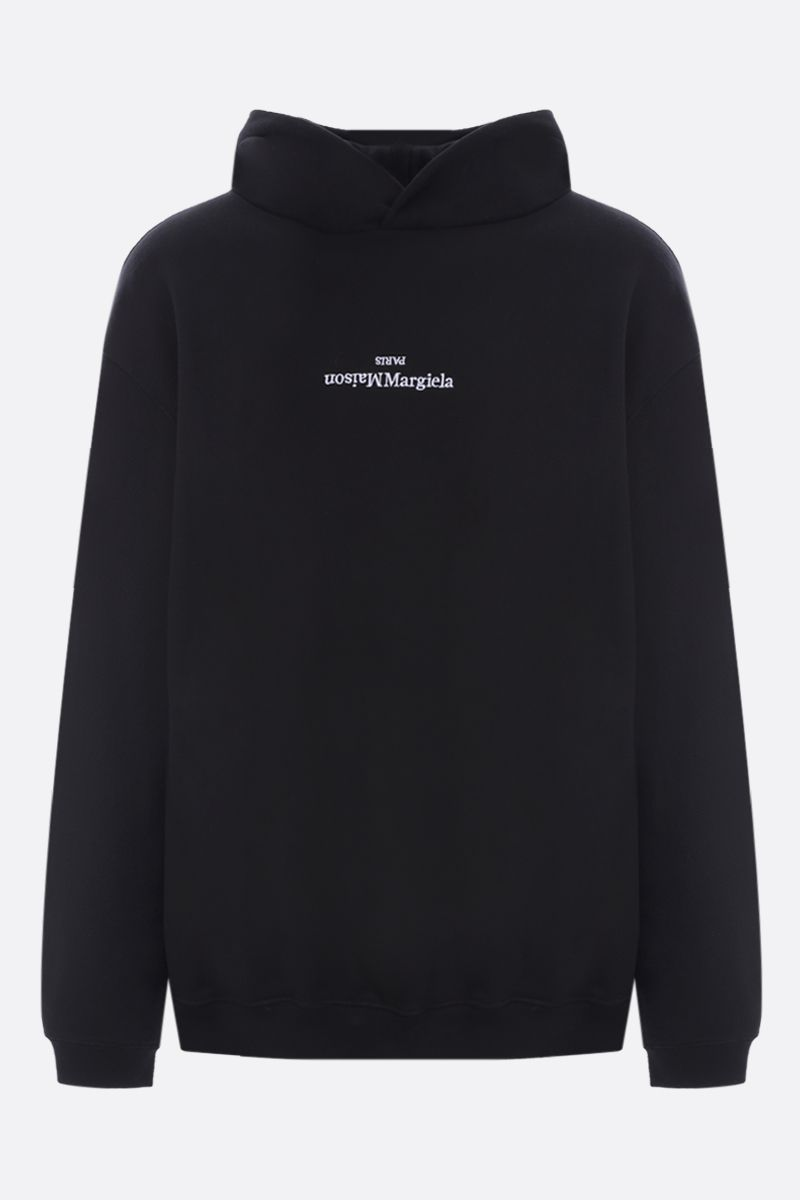 MAISON MARGIELA: logo embroidered cotton oversize hoodie Color Black_1