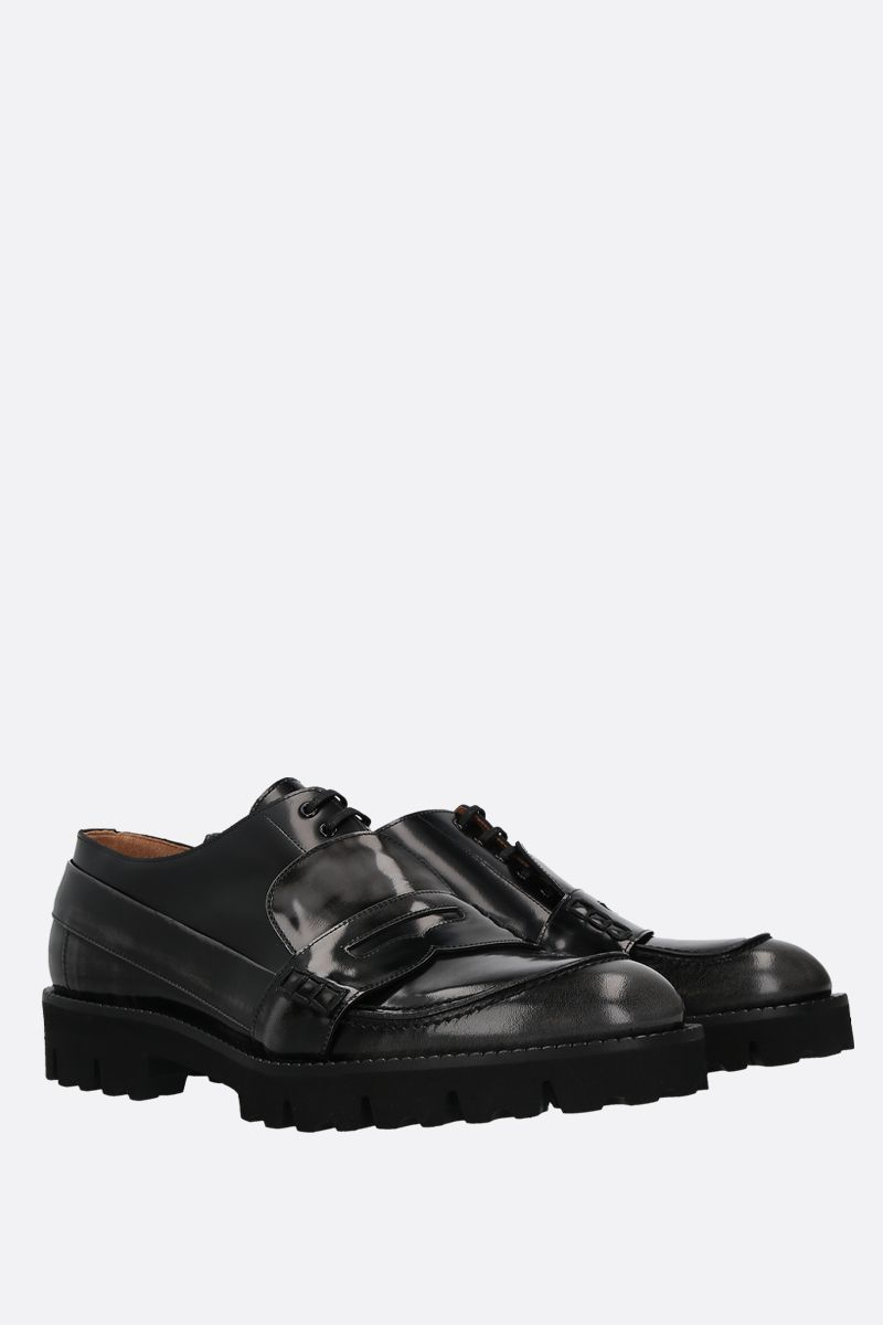 MAISON MARGIELA: Spliced brushed calf loafers Color Grey_2