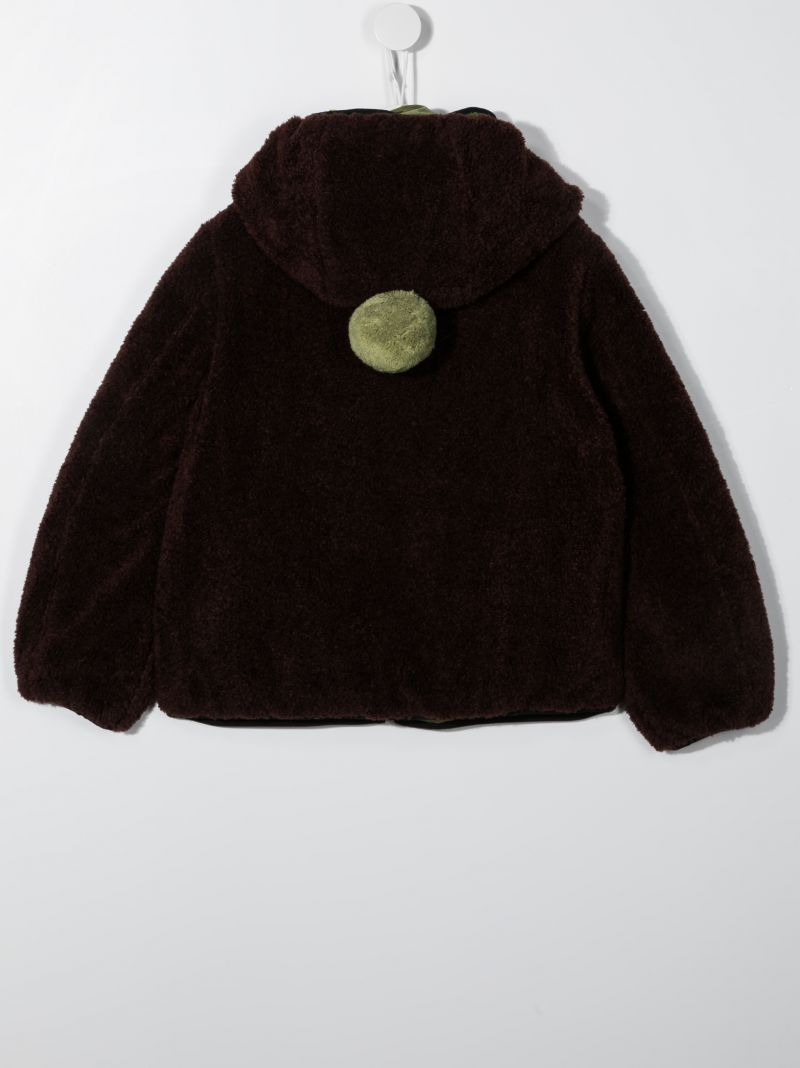 AI RIDERS ON THE STORM KIDS: pom pom-detailed faux fur jacket Color Brown_2
