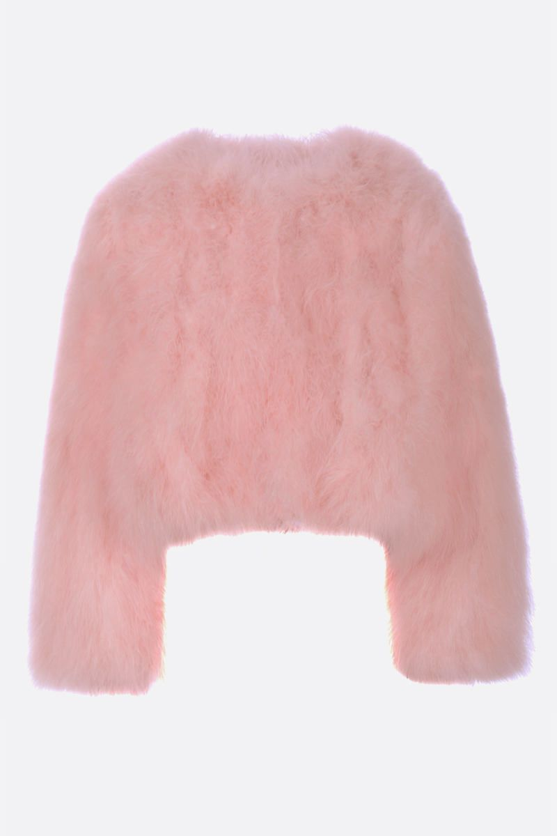 YVES SALOMON: feather-embellished fabric cropped jacket Color Pink_1