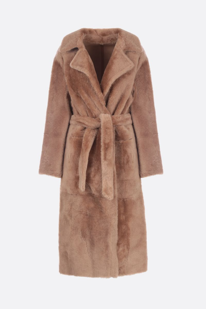 YVES SALOMON: Sarrasin reversible coat in shearlin Color Brown_1