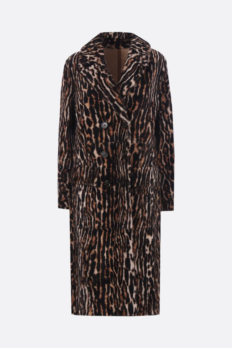 YVES SALOMON: double-breasted coat in leopard printed shearling_1