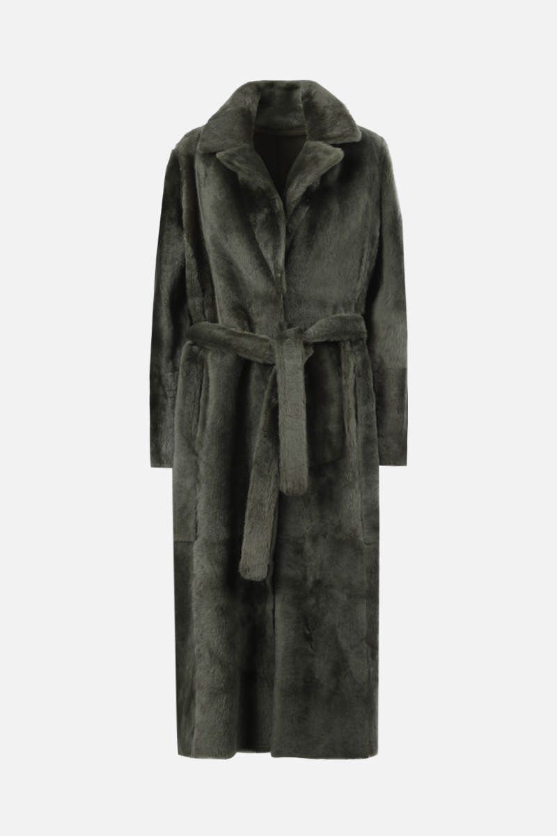 YVES SALOMON: belt-detailed shearling single-breasted coat Color Green_1