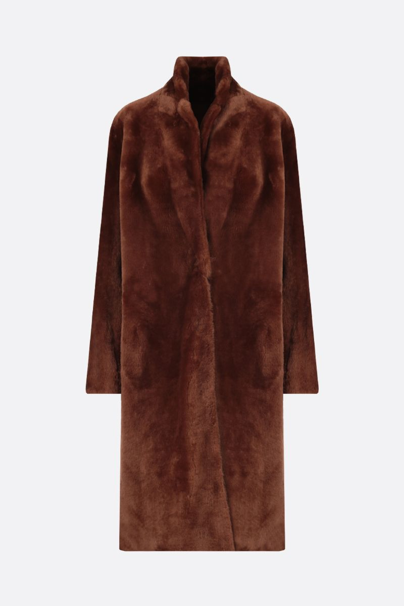 YVES SALOMON: cappotto monopetto in shearling Colore Marrone_1