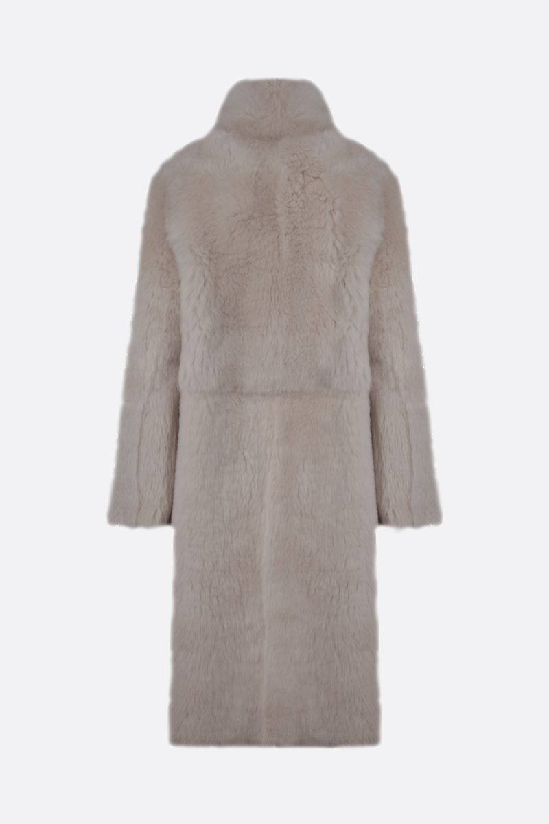 YVES SALOMON: shearling single-breasted coat Color White_2