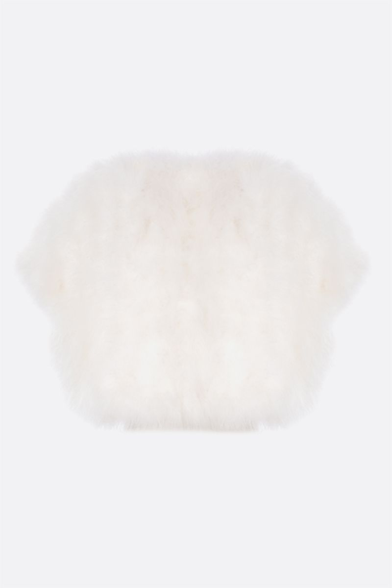 YVES SALOMON: cropped feather vest Color White_2